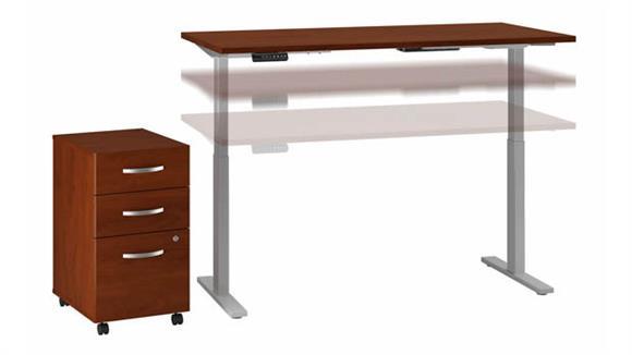 """Adjustable Height Desks & Tables Bush Furniture 72"""" W x 30"""" D Height Adjustable Standing Desk with Assembled 3 Drawer Mobile File Cabinet"""