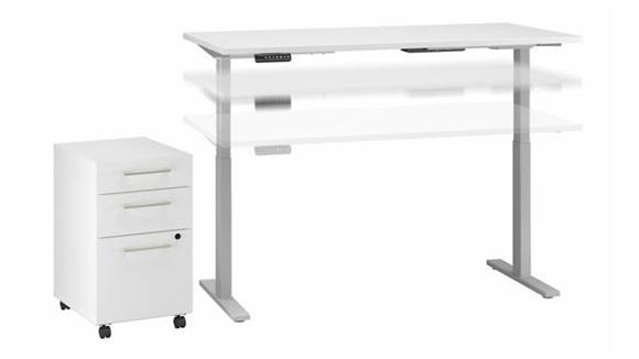 "Adjustable Height Desks & Tables Bush Furniture 72"" W x 30"" D Height Adjustable Standing Desk with 3 Drawer Mobile File Cabinet"