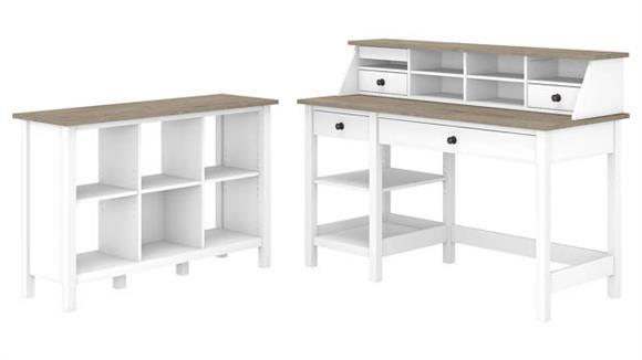 "Computer Desks Bush Furniture 54""W Computer Desk with Shelves, Desktop Organizer and 6 Cube Bookcase"