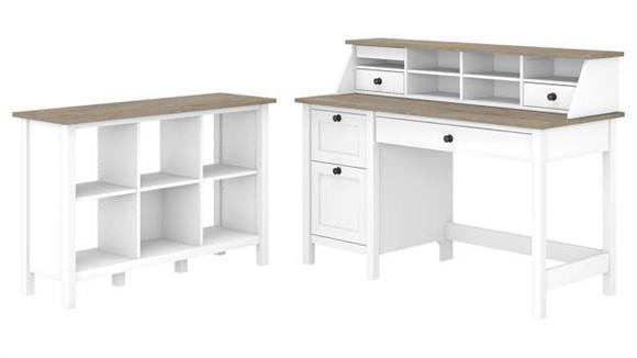 "Computer Desks Bush Furniture 54""W Computer Desk with Drawers, Desktop Organizer and 6 Cube Bookcase"
