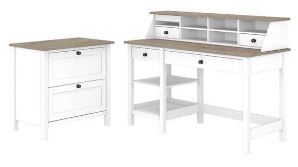 "Computer Desks Bush Furniture 54""W Computer Desk with Shelves, Desktop Organizer and Lateral File Cabinet"