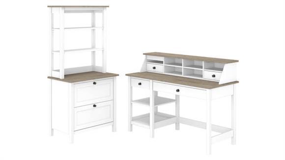 "Computer Desks Bush Furniture 54""W Computer Desk with Shelves, Desktop Organizer, Lateral File Cabinet and Hutch"