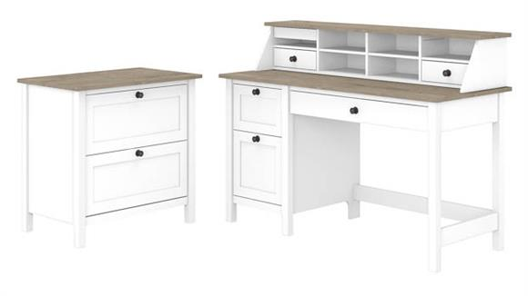 "Computer Desks Bush Furniture 54""W Computer Desk with Drawers, Desktop Organizer and Lateral File Cabinet"