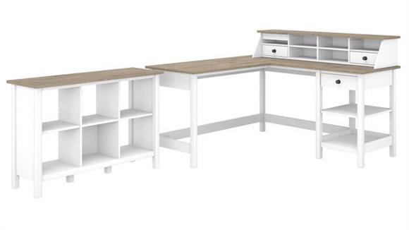 "L Shaped Desks Bush Furniture 60""W L-Shaped Computer Desk with Desktop Organizer and 6 Cube"
