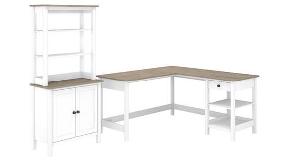 "L Shaped Desks Bush Furniture 60""W L-Shaped Computer Desk with 5 Shelf Bookcase"
