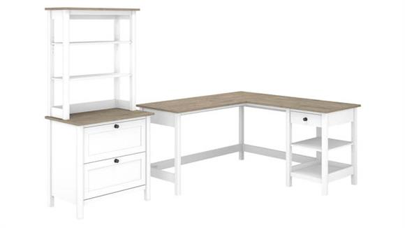 """L Shaped Desks Bush Furniture 60"""" W L-Shaped Computer Desk with Lateral File Cabinet and Hutch"""