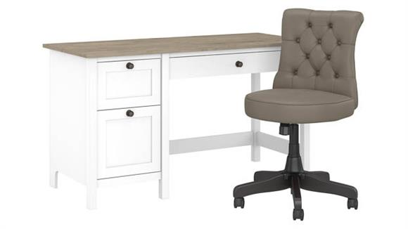"""Computer Desks Bush Furniture 54"""" W Computer Desk with Drawers and Mid Back Tufted Office Chair"""