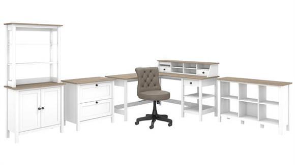 """L Shaped Desks Bush Furniture 60"""" W L Shaped Computer Desk with Desktop Organizer, Leather Chair. Lateral Cabinet, Storage Cabinet with Hutch and 6 Cube Bookcase"""