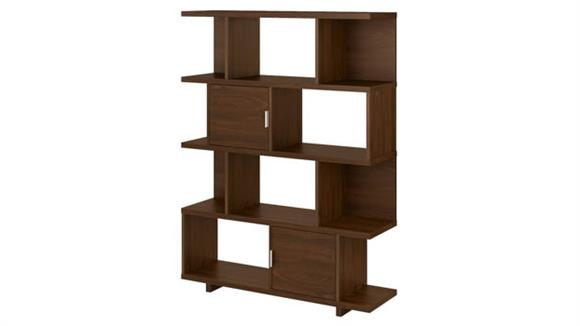 Bookcases Bush Furniture Large Geometric Etagere Bookcase with Doors