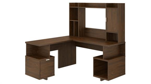 "L Shaped Desks Bush Furniture 60""W L-Shaped Desk with Hutch"