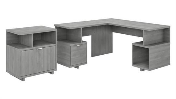 "L Shaped Desks Bush Furniture 60"" W L-Shaped Desk with Lateral File Cabinet"