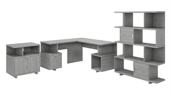 """L Shaped Desks Bush Furniture 60"""" W L-Shaped Desk with Lateral File Cabinet and Bookcase"""