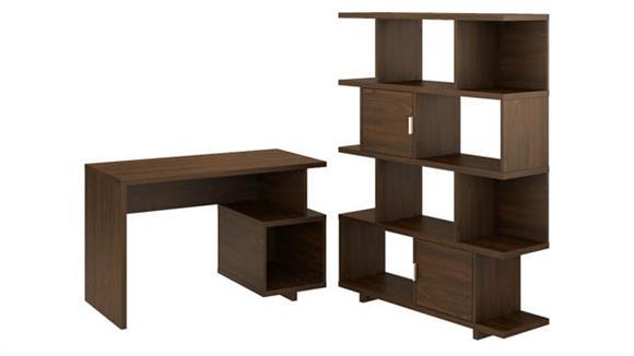 "Writing Desks Bush Furniture 48""W Writing Desk with Etagere Bookcase"