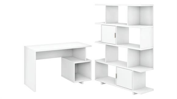 "Writing Desks Bush Furniture 48"" W Writing Desk with Etagere Bookcase"