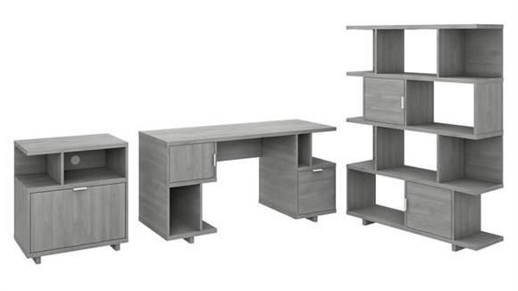 "Computer Desks Bush Furniture 60"" W Computer Desk with Lateral File Cabinet and Bookcase"