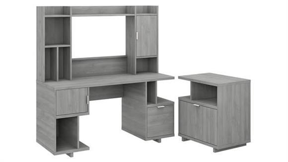 "Computer Desks Bush Furniture 60"" W Computer Desk with Hutch and Lateral File Cabinet"