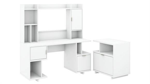 "Computer Desks Bush Furniture 60""W Computer Desk with Hutch and Lateral File Cabinet"
