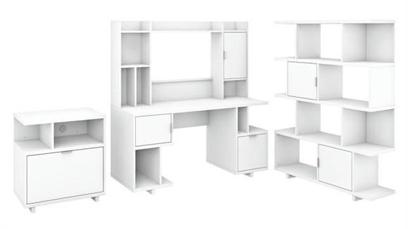 """Computer Desks Bush Furniture 60"""" W Computer Desk with Hutch, Lateral File Cabinet and Bookcase"""