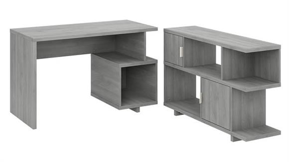 """Writing Desks Bush Furniture 48"""" W Writing Desk with Low Bookcase"""