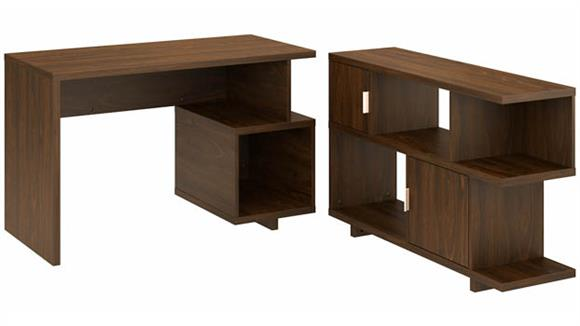 """Writing Desks Bush Furniture 48""""W Writing Desk with Low Bookcase"""
