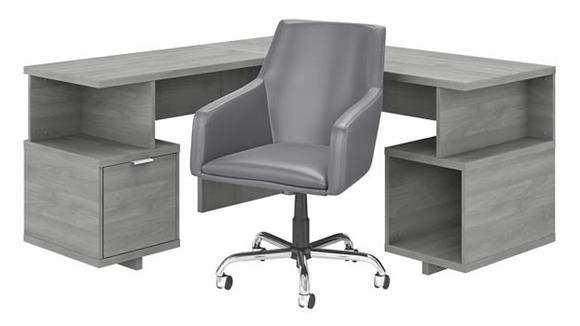 "L Shaped Desks Bush Furniture 60"" W L-Shaped Desk and Chair Set"