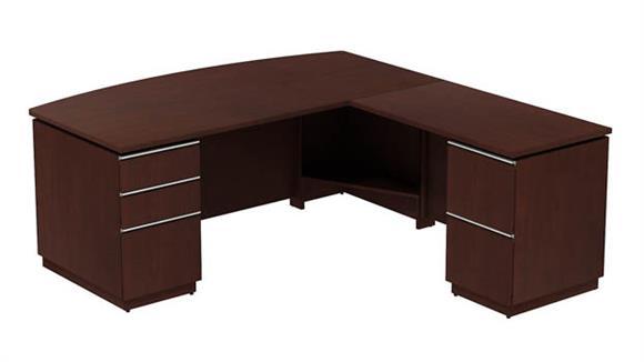 """L Shaped Desks Bush Furniture 72""""W x 36""""D Bowfront L Desk"""