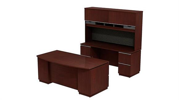 "L Shaped Desks Bush Furniture 72""W Bowfront Double Pedestal Desk with 72""W Kneespace Credenza and 72""W Hutch"