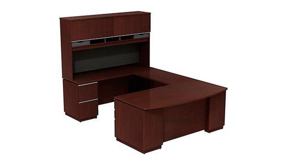 "U Shaped Desks Bush Furniture 72""W Left Hand U Station with 72""W Hutch Storage"