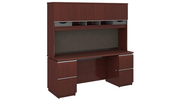"Office Credenzas Bush Furniture 72""W x 24""D Double Pedestal Credenza with Hutch"