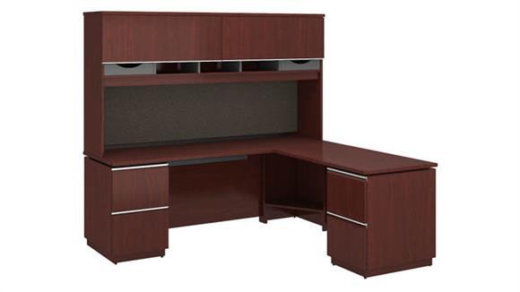 """L Shaped Desks Bush Furniture 72""""W x 24""""D Left-Handed L Station with Hutch"""