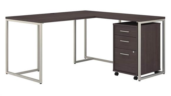 "L Shaped Desks Bush Furniture 60"" W L-Shaped Desk with 30"" W Return and Mobile File Cabinet"