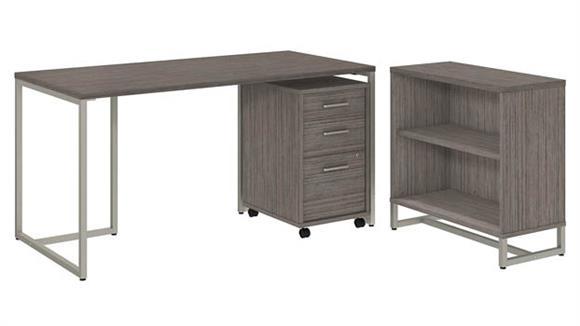 "Computer Desks Bush Furniture 60"" W Table Desk with Bookcase and Mobile File Cabinet"