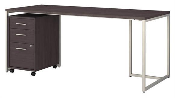 """Computer Desks Bush Furniture 72"""" W Table Desk with 3 Drawer Mobile File Cabinet"""