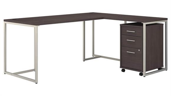 "L Shaped Desks Bush Furniture 72"" W L-Shaped Desk with 30"" W Return and Mobile File Cabinet"