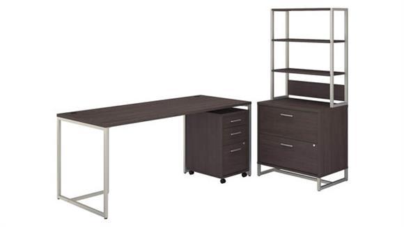 "Computer Desks Bush Furniture 72"" W Table Desk, Mobile File Cabinet and Lateral File Cabinet with Hutch"