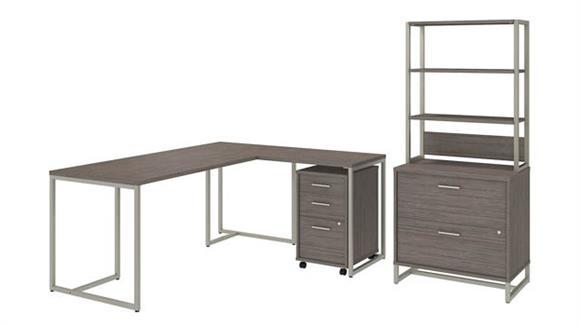 "L Shaped Desks Bush Furniture 72"" W L-Shaped Desk with 30"" W Return, File Cabinets and Hutch"