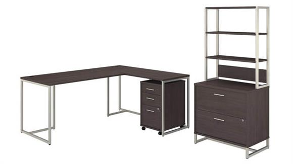 "L Shaped Desks Bush Furniture 72""W L-Shaped Desk with 30""W Return, File Cabinets and Hutch"