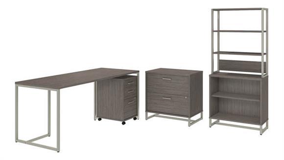 """Computer Desks Bush Furniture 72"""" W Table Desk, Mobile File Cabinet, Lateral File Cabinet, Bookcase Cabinet with Hutch"""
