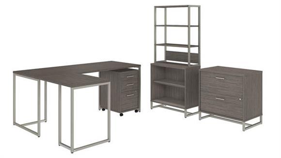 "L Shaped Desks Bush Furniture 72"" W L-Shaped Desk, Mobile File Cabinet, Lateral File Cabinet, Bookcase Cabinet with Hutch"