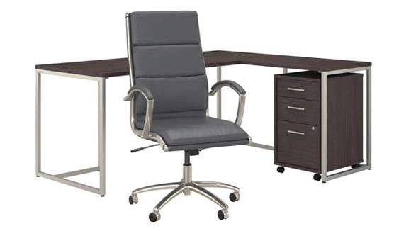 "L Shaped Desks Bush Furniture 72""W L-Shaped Desk with Mobile File Cabinet and High Back Office Chair"