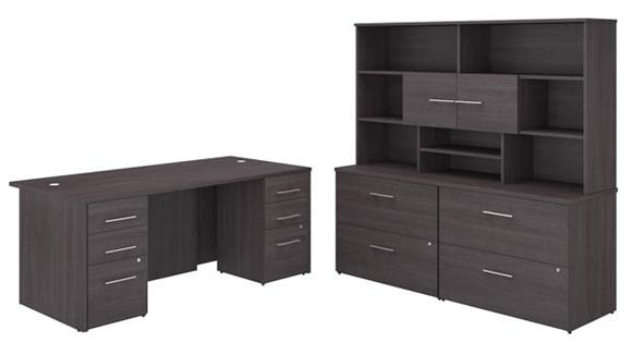 "Executive Desks Bush Furniture 72"" W x 36"" D Executive Desk with 2 -3 Drawer Vertical File Cabinets - Assembled, 2 - 2 Drawer Lateral File Cabinets - Assembled, and Hutch"