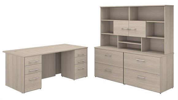 "Executive Desks Bush Furniture 72""W x 36""D Executive Desk with 2 -3 Drawer Vertical File Cabinets -Assembled, 2 - 2 Drawer Lateral File Cabinets -Assembled, and Hutch"