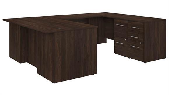 "U Shaped Desks Bush Furniture 72"" W U-Shaped Executive Desk with 3 Drawer File Cabinet - Assembled, and 2 Drawer File Cabinet - Assembled"