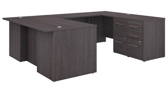 "U Shaped Desks Bush Furniture 72""W U-Shaped Executive Desk with 3 Drawer File Cabinet - Assembled, and 2 Drawer File Cabinet - Assembled"
