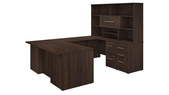 """U Shaped Desks Bush Furniture 72"""" W U-Shaped Executive Desk with 3 Drawer File Cabinet - Assembled, 2 Drawer File Cabinet - Assembled, and Hutch"""