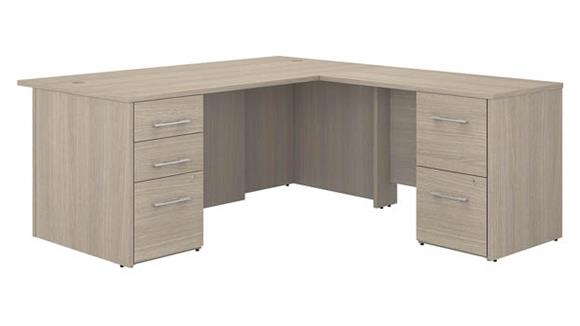 "L Shaped Desks Bush Furniture 72"" W L-Shaped Executive Desk with 3 Drawer File Cabinet - Assembled, and 2 Drawer File Cabinet - Assembled"