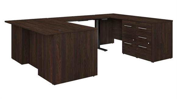 "Adjustable Height Desks & Tables Bush Furniture 72"" W Height Adjustable U-Shaped Executive Desk with 2 Drawer File Cabinet - Assembled, and 3 Drawer File Cabinet - Assembled"