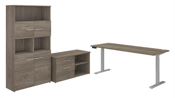 "Adjustable Height Desks & Tables Bush Furniture 72"" W Height Adjustable Standing Desk with Storage File Drawer - Assembled, and Bookcase"