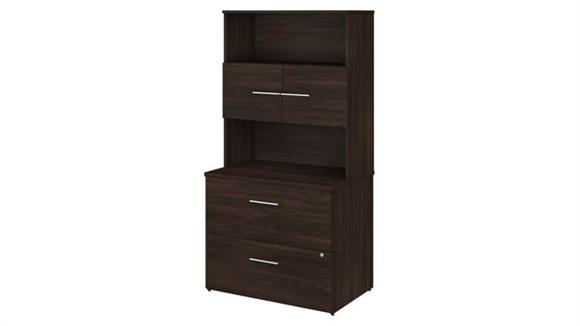 """File Cabinets Lateral Bush Furniture 36""""W 2 Drawer Lateral File Cabinet - Assembled, with Hutch"""