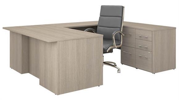 """U Shaped Desks Bush Furniture 72"""" W U-Shaped Executive Desk with 3 Drawer File Cabinet - Assembled, 2 Drawer File Cabinet - Assembled, and High Back Chair Set"""
